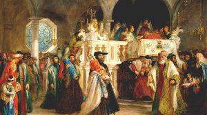 חג שמחת תורה בבית הכנסת בלגהורן (ליבורנו), איטליה - ציורו של סולומון הארט, 1850   צילום ויקיפדיה