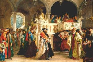 חג שמחת תורה בבית הכנסת בלגהורן (ליבורנו), איטליה - ציורו של סולומון הארט, 1850 | צילום ויקיפדיה