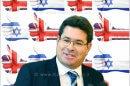 אופיר אקוניס, שר המדע, שר המדע והטכנולוגיה ברקע: דגלי ישראל בריטניה
