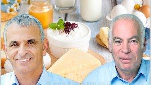 שר החקלאות ופיתוח הכפר אורי אריאל ועמיתו שר האוצר מר משה כחלון, ברקע מוצרי החלב וביצים שבפיקוח