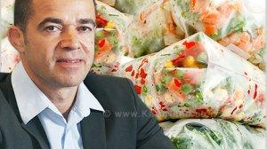 עמית לנג, מנכל משרד הכלכלה והתעשייה ברקע: ירקות קפואים