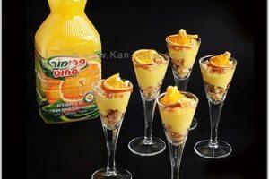 קרם תפוזים אישי, פירורי עוגת ספוג ופלחי הדרים מיובשים