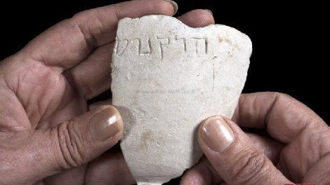 נחשפה קערת אבן מהתקופה החשמונאית עם כתובת בעברית: 'הרקנוס' | צילום: קלרה עמית, אסף פרץ