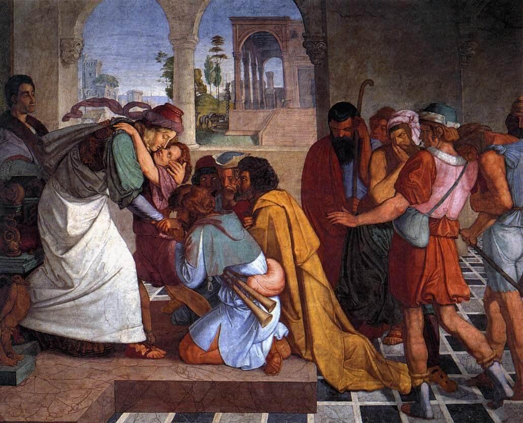 יוסף מתוודע לאחיו, ציור של פטר פון קורנליוס (1816/7) | צילום: ויקיפדיה