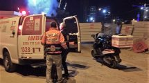 מדא הציל גבר עם כוויות ליד אתר בניית תחנת הרכבת בתל אביב