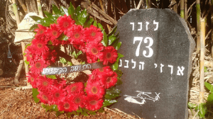מצבת 73 חללי צבא הגנה לישראל שנספו באסון המסוקים בישוב שאר ישוב