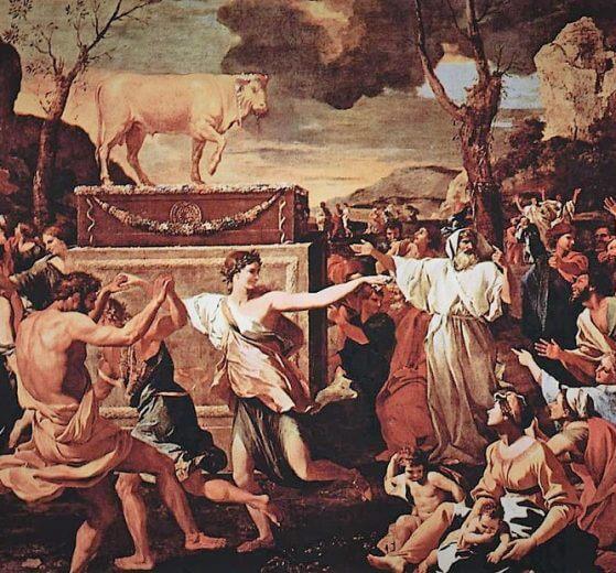 בני ישראל סוגדים לעגל הזהב | בציורו של ניקולא פוסן, שהיה צייר צרפתי בן תקופת הבארוק | צילום: ויקיפדיה