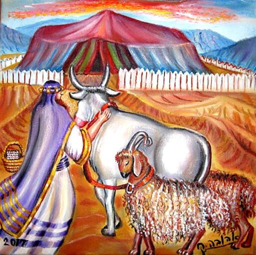 משה מביא פר ושני אלים.../ ציירה: אהובה קליין (c)