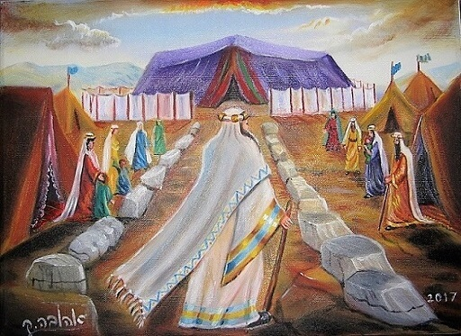 משה בדרך לאוהל מועד | ציירה [שמן על בד]: אהובה קליין (c)