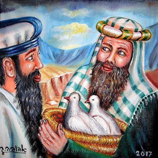 המקריב קורבן של יונים לאלוהים - מגיש לכוהן | ציירה: אהובה קליין