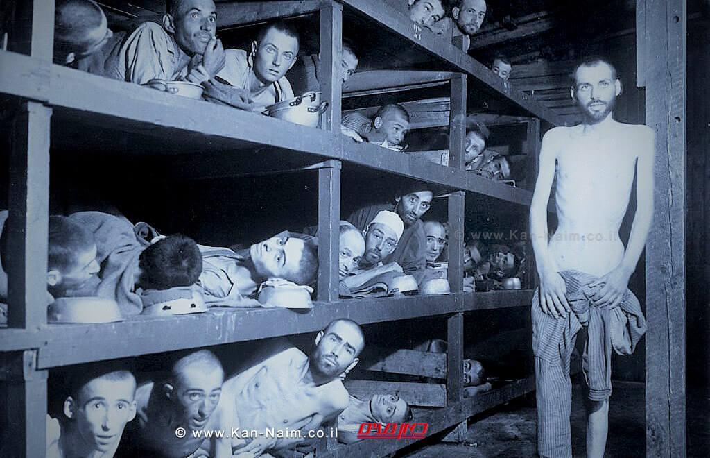 תמונה משחרור מחנה הריכוז בוכנוואלד. אלי ויזל שוכב בשורה השנייה מלמטה, שביעי משמאל.