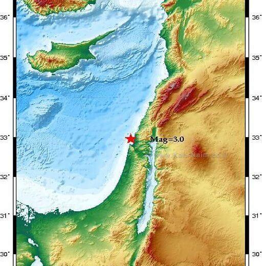 רעידות אדמה 3 בסולם מגניטודה לפי מומנט הורגשה הבוקר מצפון לעיר חיפה   איור מפה: המכון הגיאופיסי לישראל