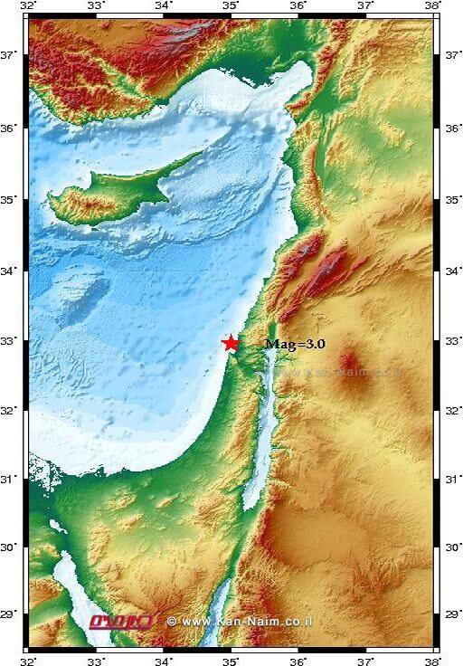 רעידות אדמה 3 בסולם מגניטודה לפי מומנט הורגשה הבוקר מצפון לעיר חיפה | איור מפה המכון הגיאופיסי לישראל