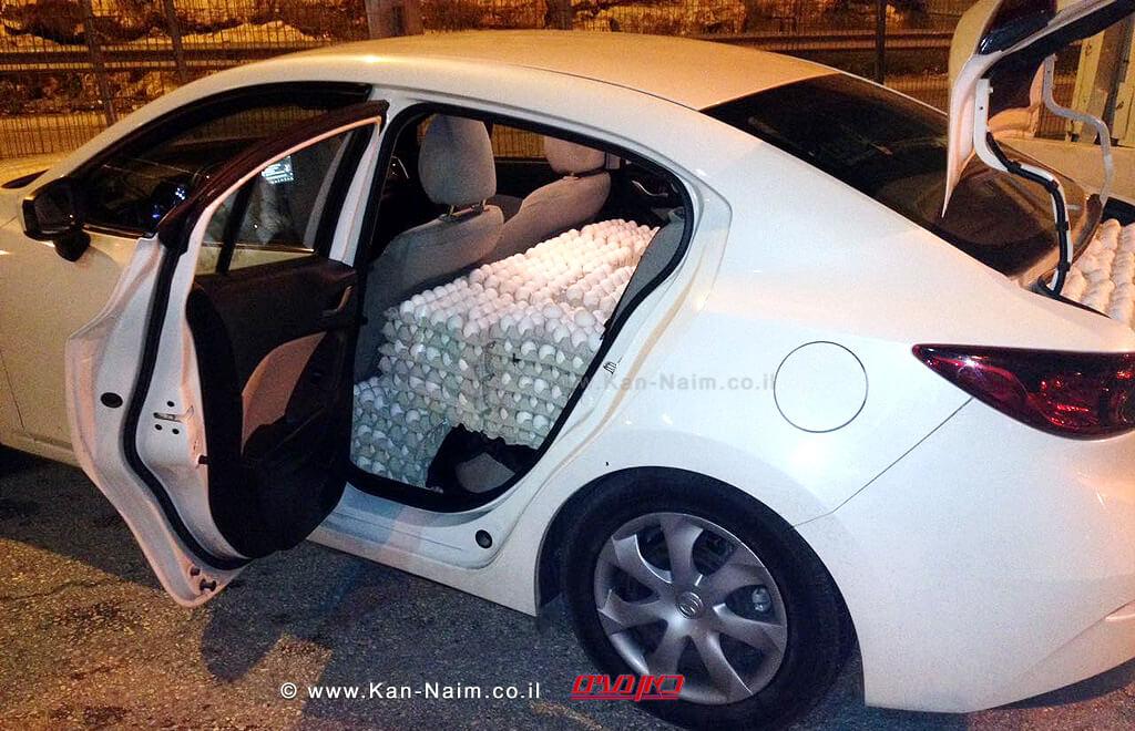 תפיסת ביצים מוברחות משטחי הרשות הפלשתינית על ידי מפקחי משרד החקלאות במחסום עוטף ירושלים| צילום: משרד החקלאות