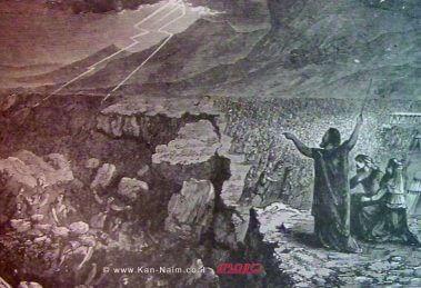 """קרח ובני עדתו נבלעים באדמה   איור מספר התנ""""ך הולמן משנת 1890   עיבוד: שולי סונגו ©"""