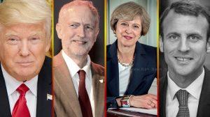 מימין לשמאל: עמנואל מקרון,תרזה מיי,ג'רמי קורבין, דולנד טראמפ | צילום ויקיפדיה | עיבוד צילום: שולי סונגו ©