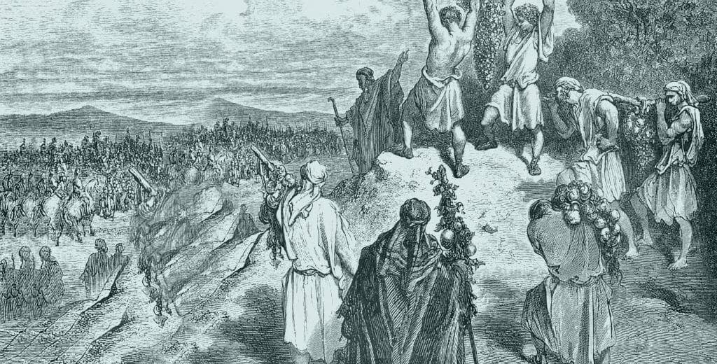 המרגלים מציגים בפני בני ישראל מפרי הארץ | איור מאת גוסטב דורה