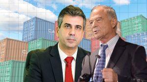 שר הכלכלה מר אלי כהן משמאל נגד נשיא איגוד לשכות המסחר עורך דין אוריאל לין מימין |עיבוד צילום: שולי סונגו ©
