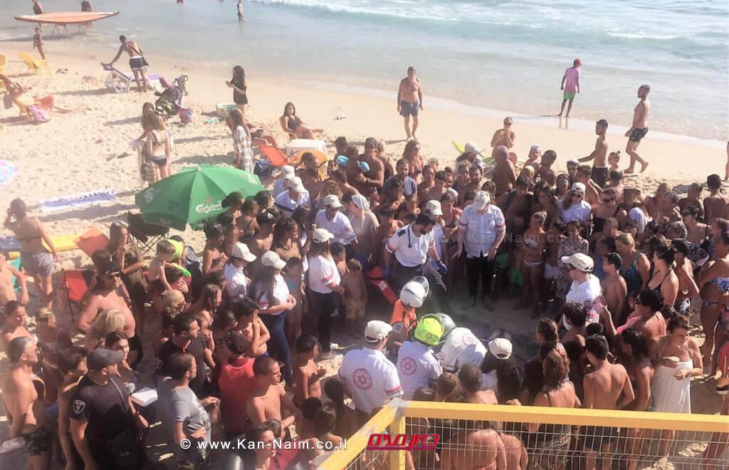 הדרכת החייאה לציבור הרחב ולתיירים הצרפתיים בחוף סירונית בנתניה צילום: דוברותמגן דוד אדום