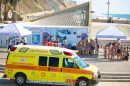 מגן דוד אדום מעניק הדרכת החייאה לציבור הרחב ולתיירים הצרפתיים בחוף סירונית בעיר נתניה |צילום: יקיר קרשביץ, תיעוד מבצעי מדא