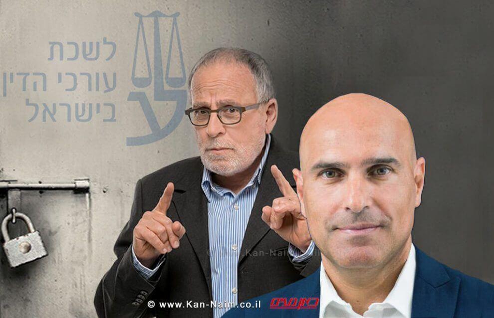 ראש לשכת עורכי הדין עורך דין אפי נוה, ברקע: קמפיין לא פותחים עסק בלי עורך דין   עיבוד צילום: שולי סונגו ©