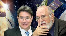 שר המדע אופיר אקוניס האריך את כהונת פרופ' יצחק בן ישראל יושב ראש סוכנות החלל הישראלית צילום: חן גלילי | עיבוד צילום: שולי סונגו ©
