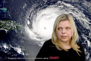 שרה נתניהו רעיית ראש הממשלה | ברקעהוריקן אירמה |עיבוד צילום: שולי סונגו ©