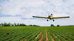 מטוס קל מפזר 'חומרי הדברה' בשטח חקלאי | עיבוד צילום: שולי סונגו ©