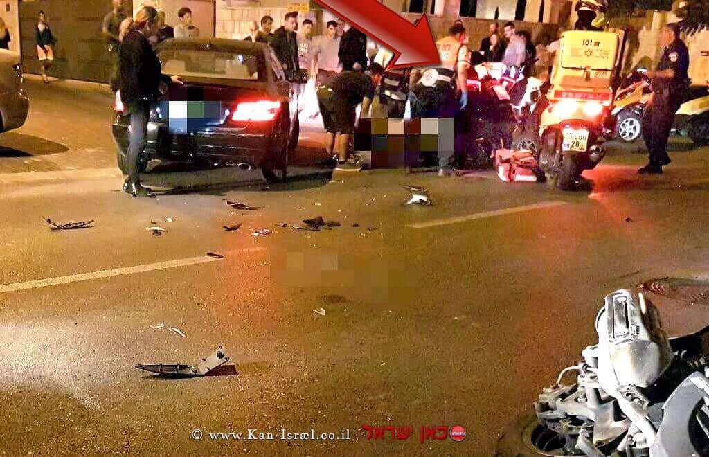 רוכב אופנוע נפגע אנושות מרכב ברחוב בני יהודה בראשון לציון |צילום: חגי נתני, תיעוד מבצעי מדא