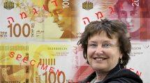 קרנית פלוג נגידת בנק ישראל ושטרות בעריכים 20 ₪ ו-100 ₪ | עיבוד צילום: שולי סונגו ©