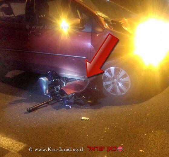 זירת תאונת הדרכים בתל אביב בה רוכבת אופניים בת 21 נפצעה באורח אנוש מפגיעת רכב