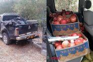הטנדר והשלל שלתוצרת חקלאית שנתפסו על ידי משמר הגבול בדרום ישראל |צילום: דוברות המשטרה | עיבוד צילום: שולי סונגו ©
