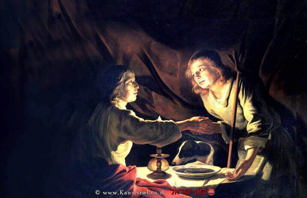 עשיו מוכר ליעקב את הבכורה בתמורה ל'נזיד עדשים' | ציור של מתיאס שטום (1640) | ויקיפדיה | עיבוד צילום: שולי סונגו ©