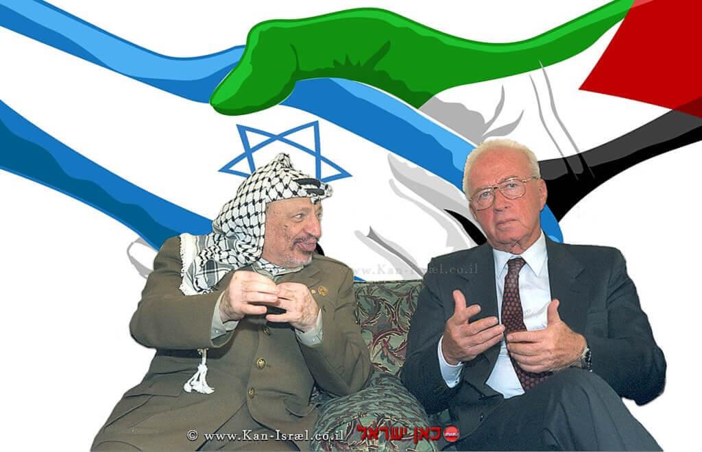 שני ידידים: יאסר ערפאת ויצחק רבין | צילום: סער יעקב | לשכת עיתונות ממשלתית | עיבוד צילום: שולי סונגו ©