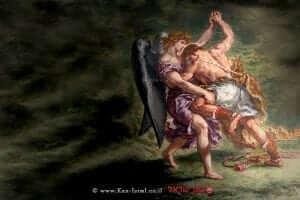 יעקב נאבק במלאך (שמן ווקס על טיח (ציור קיר),של יוג'ין דלקרואה, פריס | צילום: ויקיפדיה | עיבוד: שולי סונגו ©
