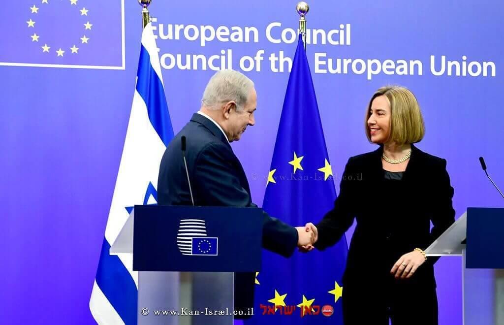 """ראש הממשלה מר בנימין נתניהו במפגש עם שרת החוץ של האיחוד האירופי הגב' פדריקה מוגריני   צילום לע""""מ"""