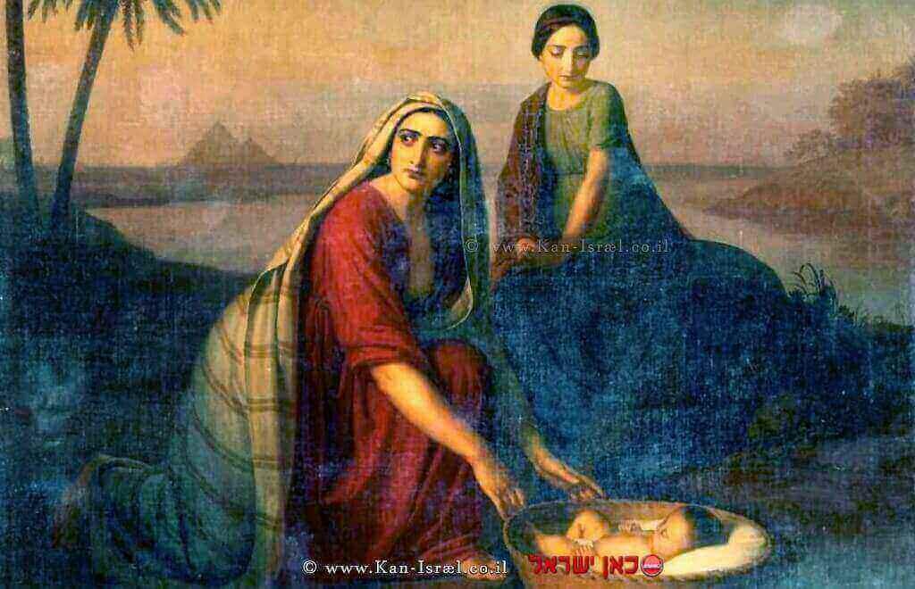 יוכבד ומרים מניחות את משה בתיבה על שפת היאור | אלכסיי טירנוב, 1842
