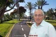 ראש עיריית חולון מוטי ששון על רקע דרך לרוכבי אופניים בעיר