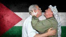 יאסר ערפאת עם אבו מאזן ברקע: דגל פלסטין   עיבוד: שולי סונגו ©
