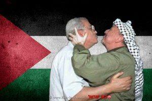 יאסר ערפאת עם אבו מאזן ברקע: דגל פלסטין | עיבוד: שולי סונגו ©