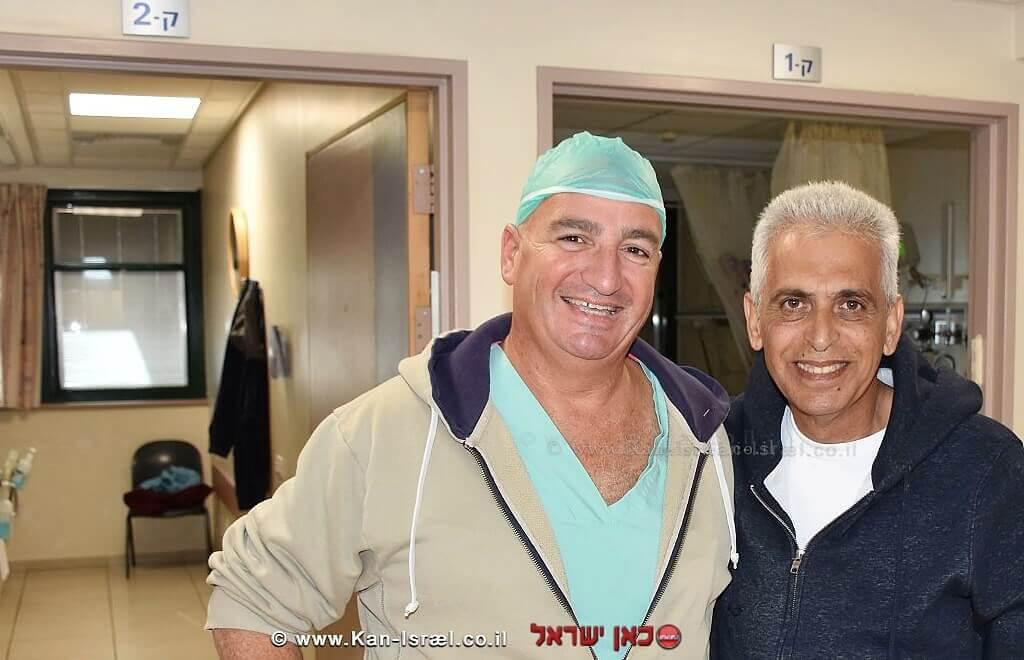 יגאל מאיר לאחר ניתוח הלב עם דוקטור ארז קכל
