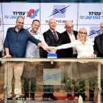מימין: אמנון נויבך, חני שטרית בך, ראובן קפלן, שר הבינוי והשיכון יואב גלנט, איתמר ברטוב, חגי רזניק ואיתי בן זאב