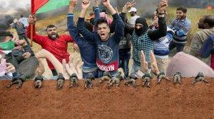 פעילי החמאס תושבי עזה מתפרעים מול חיילי צהל בגבול