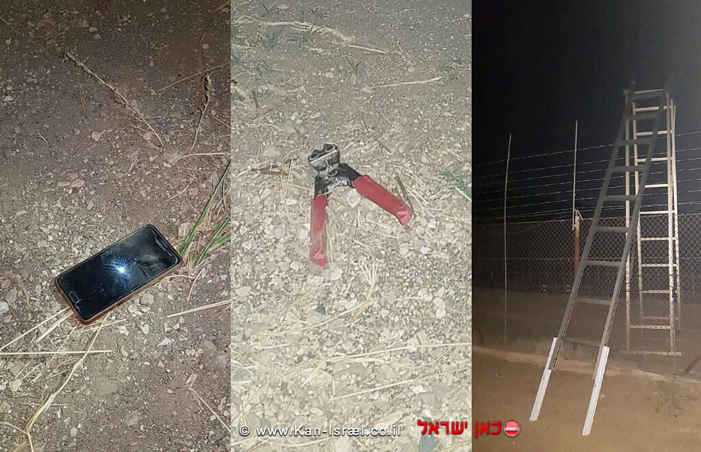 סולם לטיפוס על הגדר, כלי לחיתוך גדר ומכשיר סלולרי