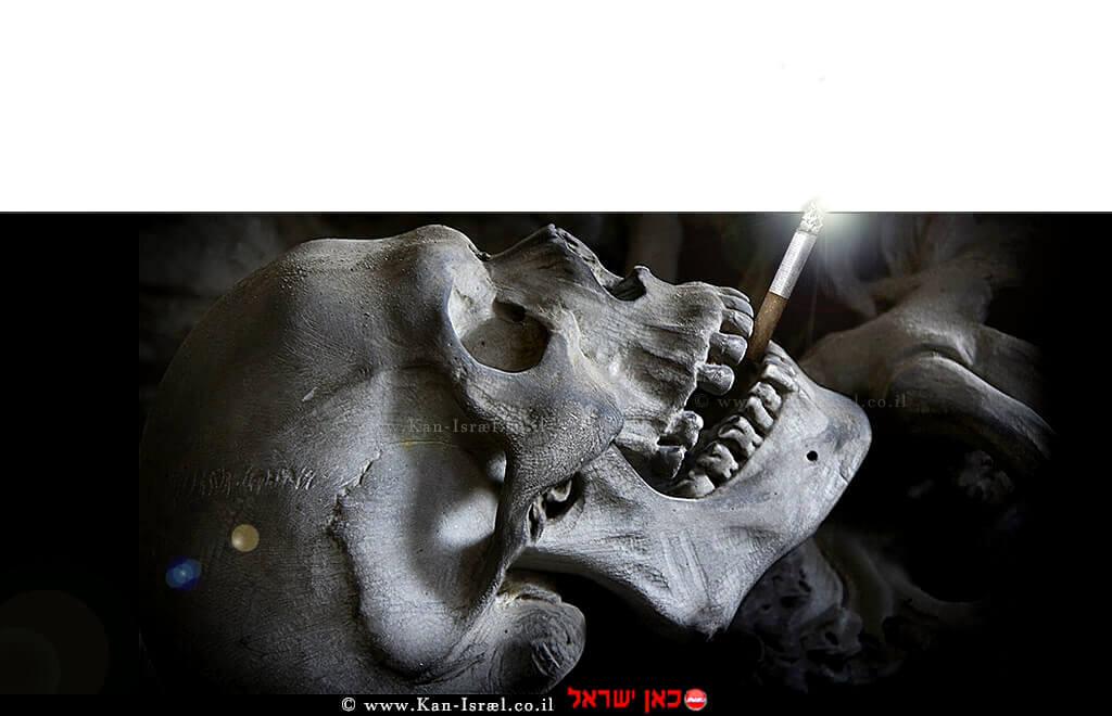 גולגולת מעשנת - סרטן | סרטן, עישון גורם למחלות ומקצר תוחלת החיים ב-10 שנים בממוצע | עיבוד צילום: שולי סונגו