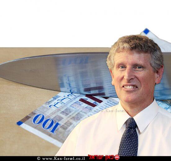פרופ' מישל סטרבצ'ינסקי, מנהל חטיבת המחקר בבנק ישראל, ברקע: קיצוץ בתקציב כלכלת ישראל   עיבוד צילום: שולי סונגו