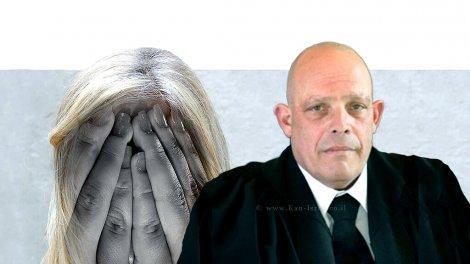 כב' השופט לענייני משפחה בתל אביב-יפו, ארז שני ברקע הדמייה של אישה שלקתה במאניה דפרסיה | עיבוד צילום שולי סונגו