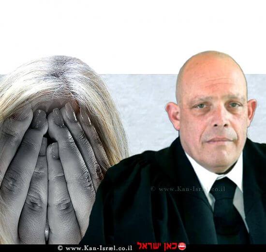 כב' השופט לענייני משפחה בתל אביב-יפו, ארז שני ברקע הדמייה של אישה שלקתה במאניה דפרסיה   עיבוד צילום שולי סונגו