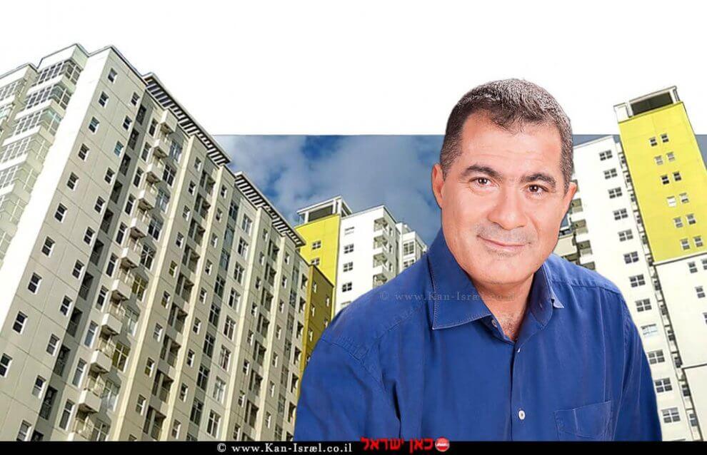 ראול סרוגו נשיא התאחדות בוני הארץ ומנכל חברת הבנייה סרוגו   ברקע: בנייני מגורים   עיבוד צילום: שולי סונגו