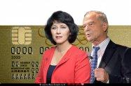 אוריאל לין נשיא איגוד לשכות המסחר עם חדוה בר המפקחת על הבנקים ברקע כרטיס אשראי ויזה, תקן EMV | עיבוד צילום: שולי סונגו